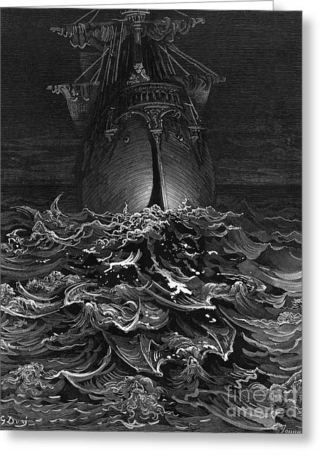 Literary Drawings Greeting Cards - The Mariner gazes on the ocean and laments his survival while all his fellow sailors have died Greeting Card by Gustave Dore