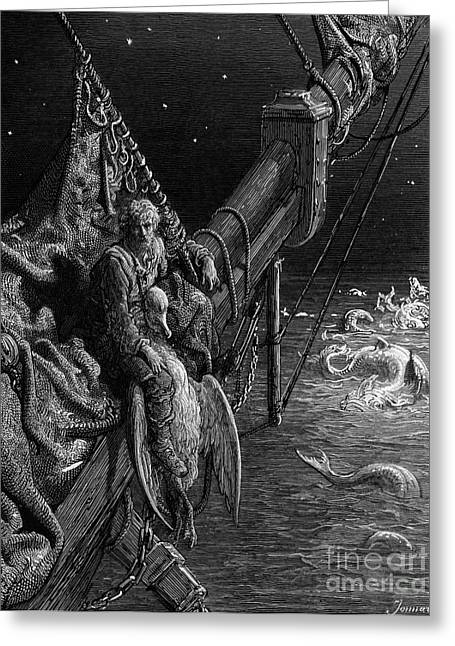 Voyage Drawings Greeting Cards - The Mariner gazes on the serpents in the ocean Greeting Card by Gustave Dore