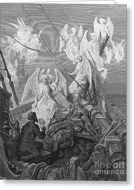 Literary Drawings Greeting Cards - The mariner sees the band of angelic spirits Greeting Card by Gustave Dore
