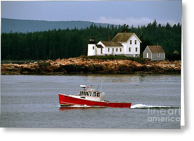 New England Lighthouse Greeting Cards - The Mark Island Light Greeting Card by James L. Amos