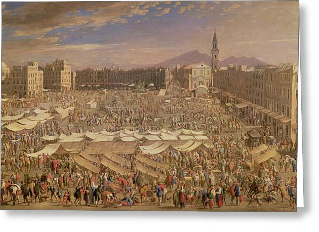 Marketplace Greeting Cards - The Market At Naples Oil On Canvas Greeting Card by Angelo Maria Costa