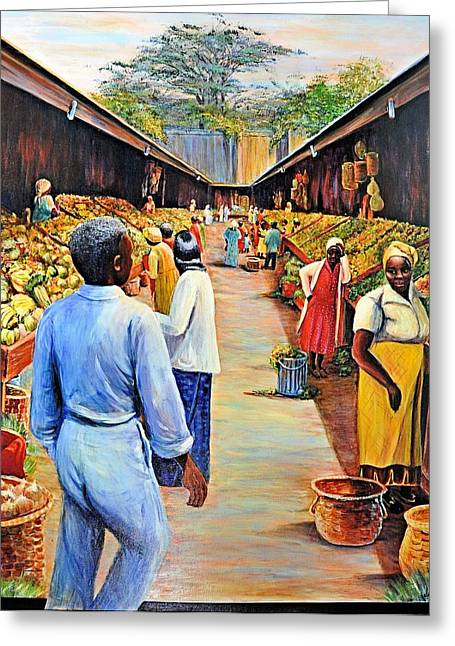 _art Greeting Cards - The Market Place Greeting Card by JAXINE Cummins