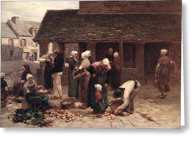 Gathering Greeting Cards - The Market Place Of Ploudalmezeau, Brittany, 1877 Oil On Canvas Greeting Card by Leon Augustin Lhermitte