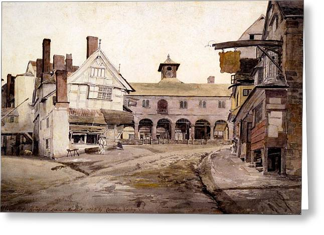 Marketplace Greeting Cards - The Market Place, Ross, Hertfordshire Greeting Card by Cornelius Varley