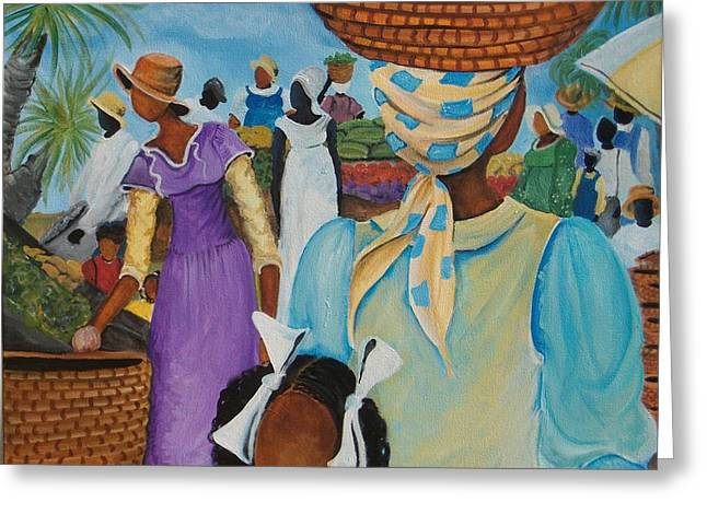 African Heritage Greeting Cards - The Market Place Greeting Card by Sonja Griffin Evans