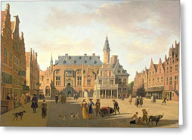 Town Square Greeting Cards - The Market Place With The Raadhuis, Haarlem, 17th Century Greeting Card by Gerrit Adriaensz Berckheyde