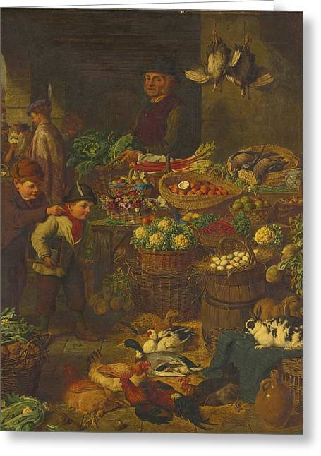 Henry Bryant Greeting Cards - The Market Stall Greeting Card by Celestial Images
