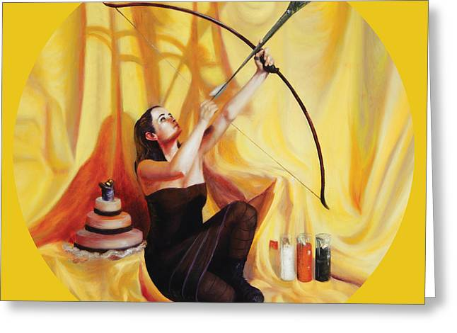 Red Chakra Greeting Cards - The Markswoman Greeting Card by Shelley  Irish