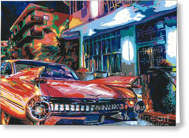 Chrome Paintings Greeting Cards - The Marlin Hotel Greeting Card by Maria Arango