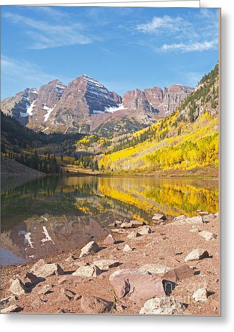 The Maroon Bells Near Aspen Colorado Greeting Card by Alex Cassels