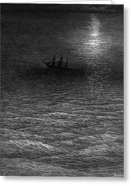 Dark Skies Greeting Cards - The marooned ship in a moonlit sea Greeting Card by Gustave Dore