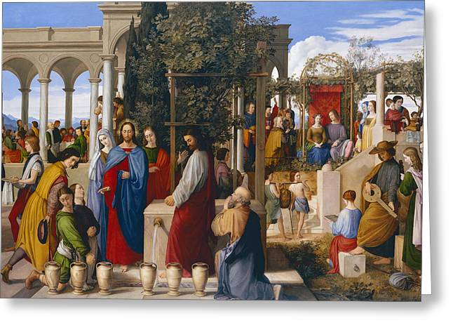 Gathering Greeting Cards - The Marriage at Cana Greeting Card by Julius Schnorr von Carolsfeld