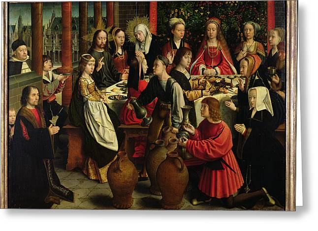 Water Into Wine Greeting Cards - The Marriage Feast At Cana, C.1500-03 Oil On Panel Greeting Card by Gerard David
