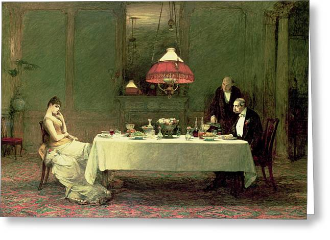 Tension Paintings Greeting Cards - The Marriage Of Convenience, 1883 Greeting Card by Sir William Quiller Orchardson