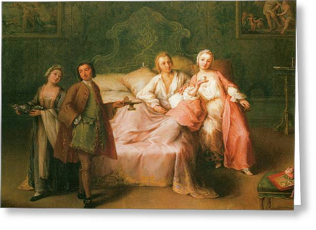 Married Couple Greeting Cards - The Married Couples Breakfast Greeting Card by Pietro Longhi