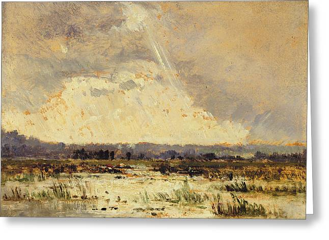 Rain Storm Greeting Cards - The Marsh In The Souterraine, 1842 Greeting Card by Theodore Rousseau