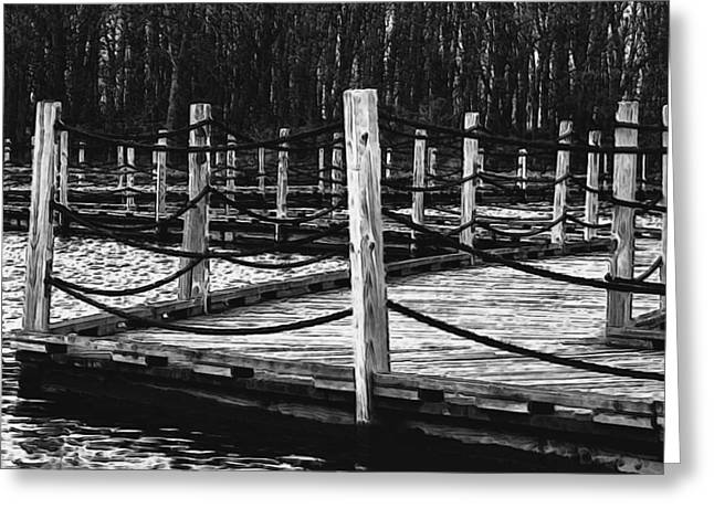 Geometric Image Greeting Cards - The Marsh Walk Greeting Card by Jack Zulli