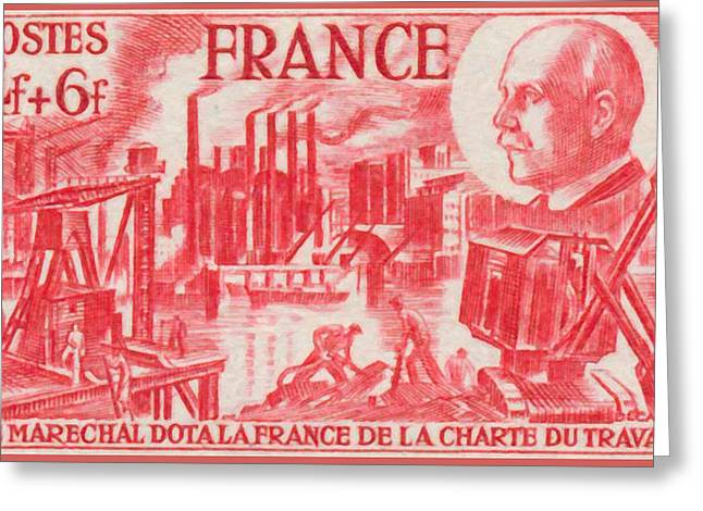 """""""france Poster"""" Greeting Cards - The Marshal Of France Dota Of The Charter Of Work Stamp Greeting Card by Lanjee Chee"""