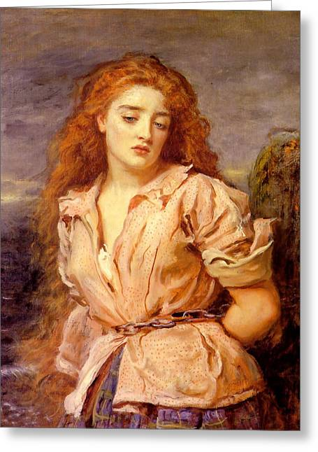 Martyrs Digital Art Greeting Cards - The Martyr of the Solway Greeting Card by John Everett Millais
