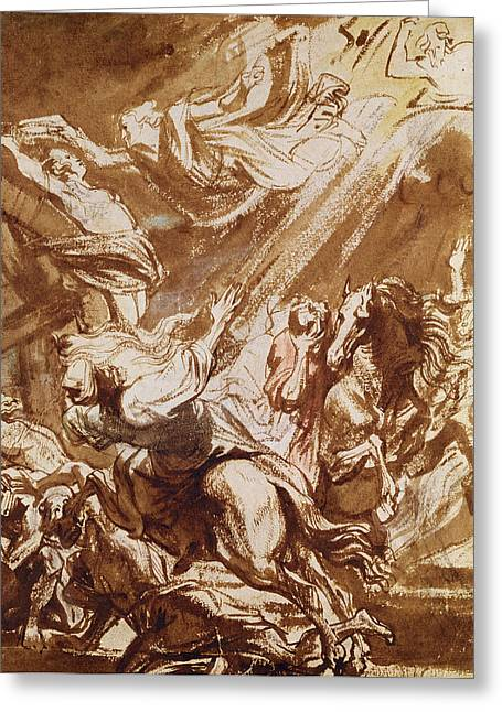 Pen And Ink Drawings For Sale Drawings Greeting Cards - The Martyrdom of Saint Catherine Greeting Card by Sir Anthony van Dyck