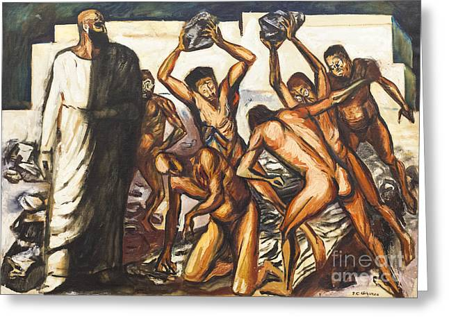 Clemente Greeting Cards - The martyrdom of Saint Stephen by Jose Clemente Orozco Greeting Card by Roberto Morgenthaler