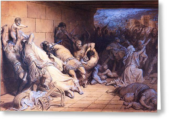 Dore Greeting Cards - The Martyrdom of the Holy Innocents Greeting Card by Gustave Dore