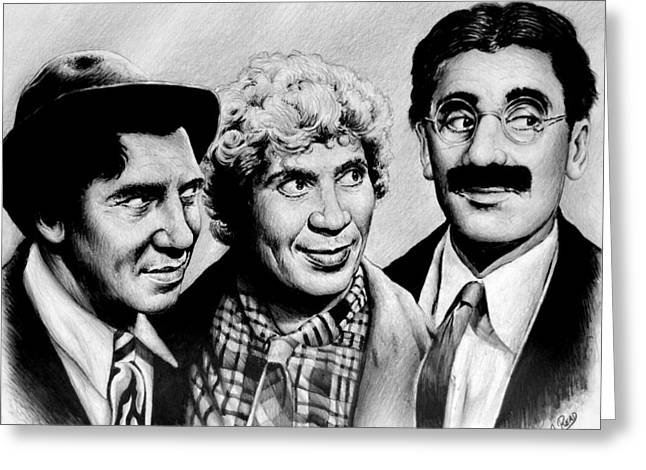 Popular Drawings Greeting Cards - The Marx Brothers Greeting Card by Andrew Read