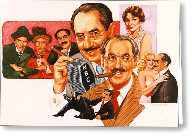 Television Paintings Greeting Cards - The Marx Brothers Greeting Card by Dick Bobnick