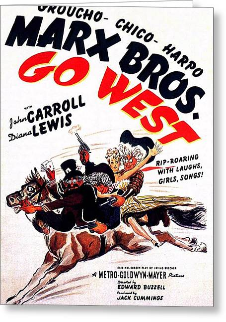 Marx Brothers Greeting Cards - The Marx Brothers Go West Greeting Card by Movie Poster Prints