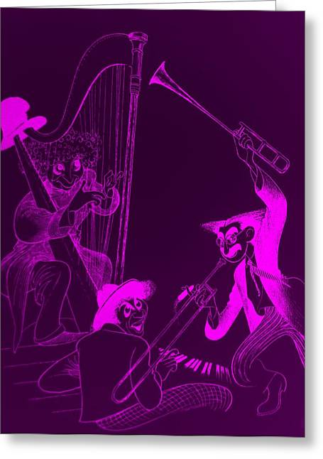 Groucho Marx Digital Art Greeting Cards - The Marx Brothers Purple Greeting Card by Rob Hans