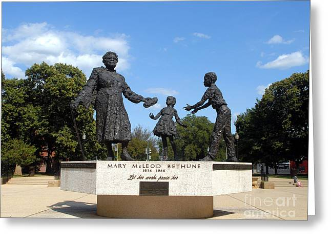 Human Rights Leader Greeting Cards - The Mary McLeod Bethune Memorial Greeting Card by Walter Oliver Neal