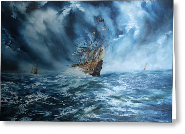 Jean Walker Greeting Cards - The Mary Rose And Fleet Greeting Card by Jean Walker