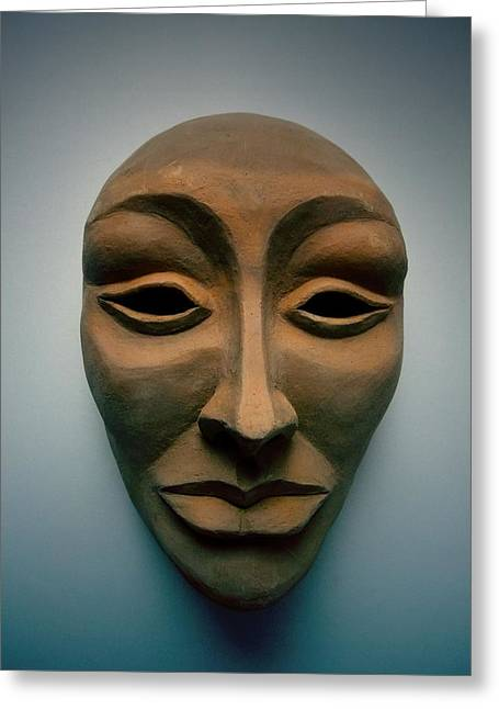 Silver Sculptures Greeting Cards - The Mask  Greeting Card by FL collection
