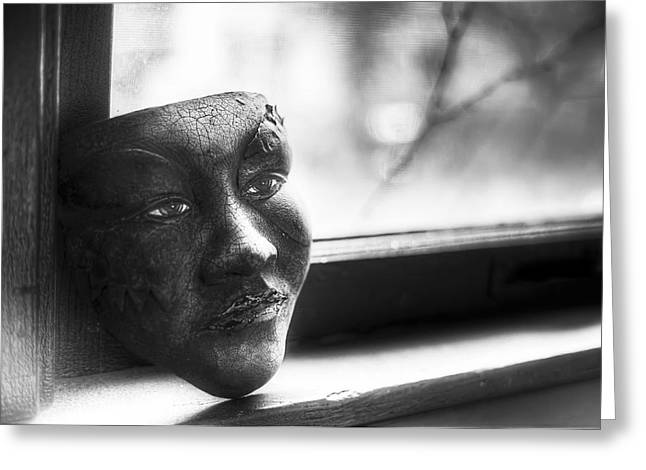 Monochrome Greeting Cards - The Mask Greeting Card by Scott Norris
