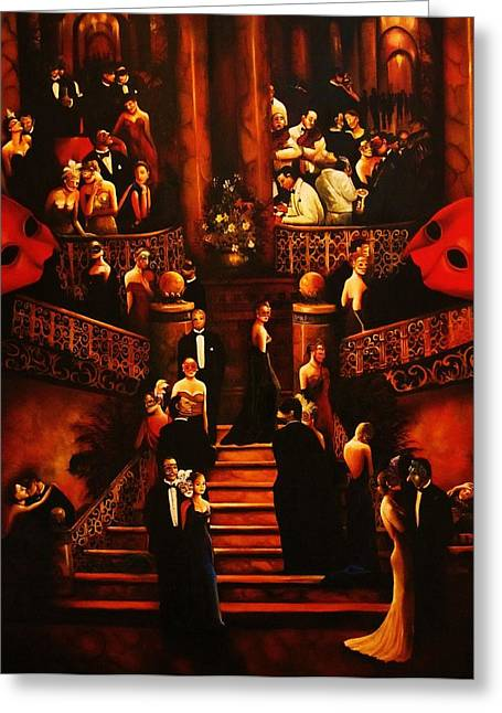 Spirituality Greeting Cards - The Masquerade A Greeting Card by Dalgis Edelson