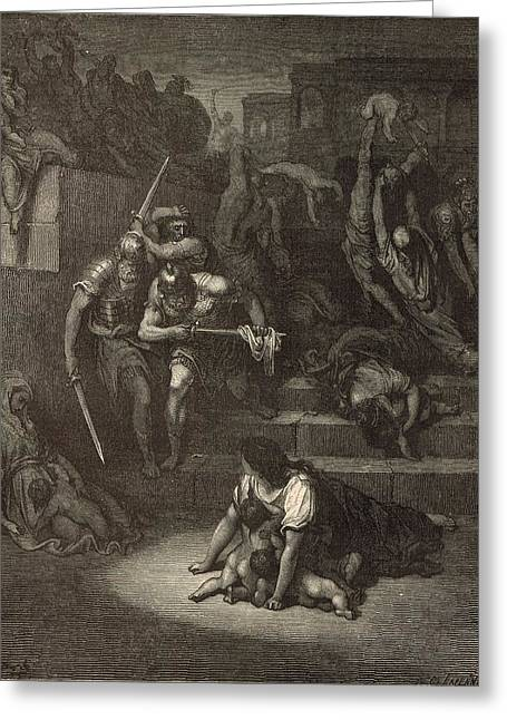 Jesus work Drawings Greeting Cards - The Massacre of the Innocents Greeting Card by Antique Engravings