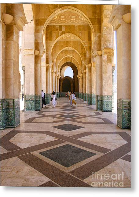 Northern Africa Greeting Cards - The Massive Colonnades at the Hassan II Mosque Sour Jdid Casablanca Morocco Greeting Card by Ralph A  Ledergerber-Photography
