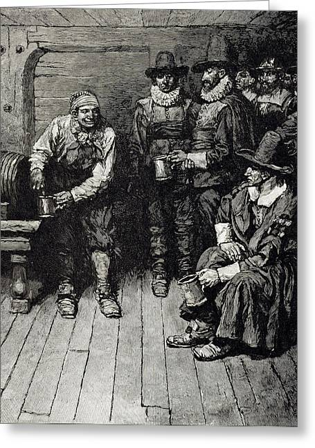 Puritan Greeting Cards - The Master Caused Us To Have Some Beere, From Harpers Magazine, 1883 Litho Greeting Card by Howard Pyle