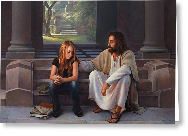 Christianity Paintings Greeting Cards - The Masters Touch Greeting Card by Greg Olsen