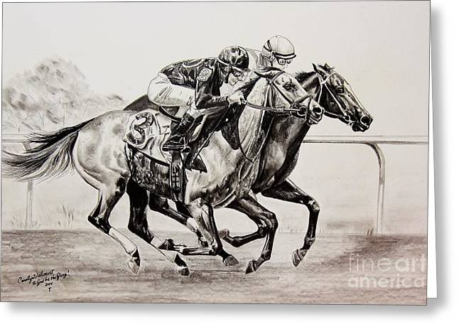 Race Horse Drawings Greeting Cards - The Matched Race Greeting Card by Carolyn Valcourt