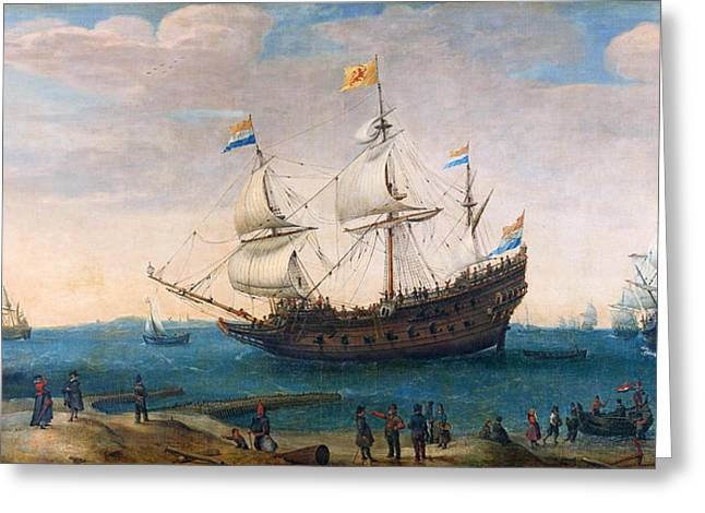 The Mauritius And Other East Indiamen Greeting Card by Hendrik Cornelisz Vroom