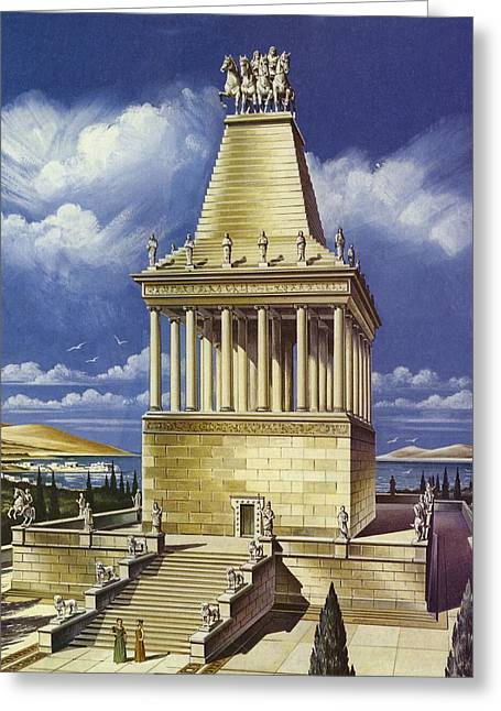 The Mausoleum At Halicarnassus Colour Litho Greeting Card by English School