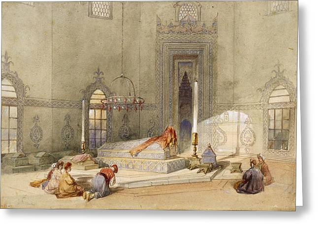 Bowing Greeting Cards - The Mausoleum Of Sultan Mohmed, Brusa Greeting Card by Thomas Allom