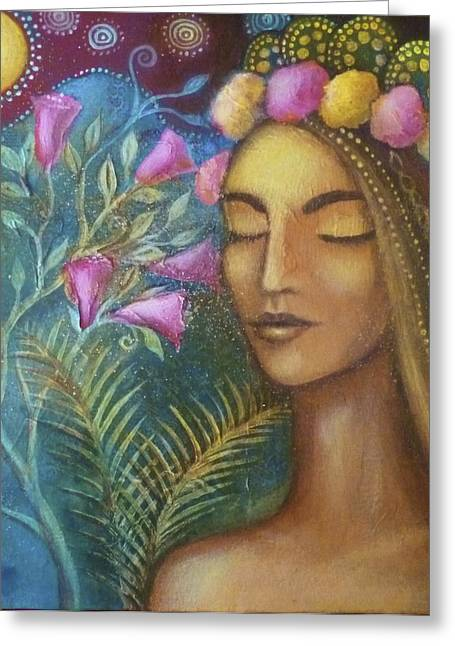 The Sacred Feminine Greeting Cards - The May Queen Greeting Card by Alice Mason