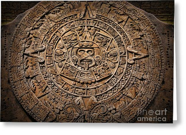 Mesoamerica Greeting Cards - The Mayan Calendar Greeting Card by Lee Dos Santos
