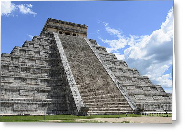 Civilization Pyrography Greeting Cards - The Mayan Pyramid of Chichen Itza Greeting Card by Yoshiko Wootten