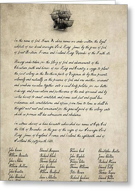 The Mayflower Compact Aged  1620 Greeting Card by Daniel Hagerman