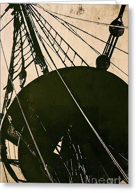 Masts Mixed Media Greeting Cards - The Mayflower Greeting Card by Deborah Talbot - Kostisin