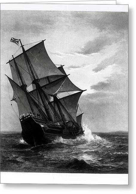 Colonists Greeting Cards - The Mayflower, Engraved And Pub. By John A. Lowell, Boston, 1905 Engraving Bw Photo Greeting Card by Marshall Johnson