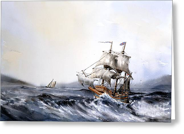Val Byrne Greeting Cards - The Mayflower Greeting Card by Val Byrne